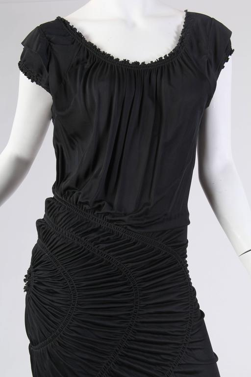 1990S JEAN PAUL GAULTIER Black Jersey Cocktail Dress With Spiral Ruching NWT For Sale 6