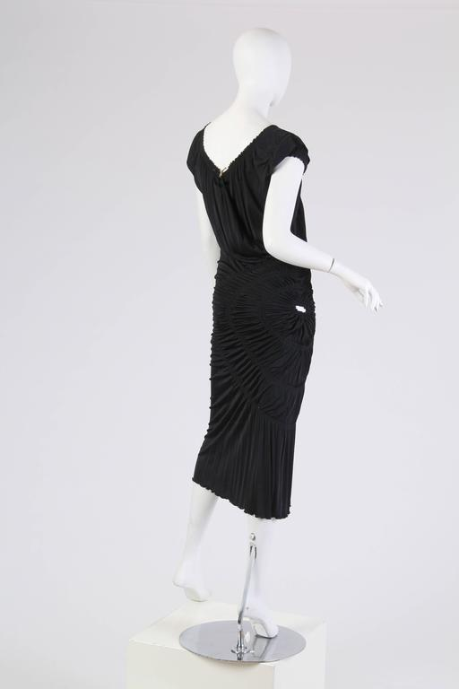 Women's 1990S JEAN PAUL GAULTIER Black Jersey Cocktail Dress With Spiral Ruching NWT For Sale