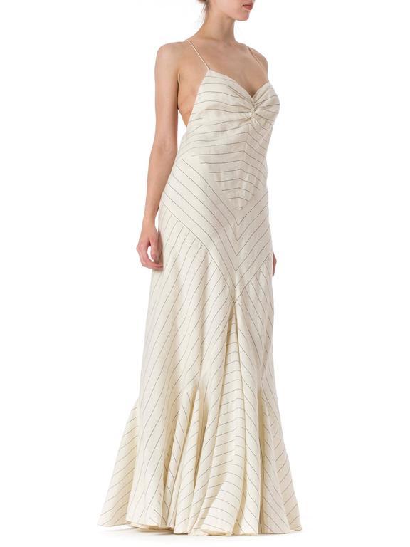 b0bbfea3e4e Ralph Lauren Purple Label 1930s Style Bias Cut Linen Dress In Excellent  Condition For Sale In