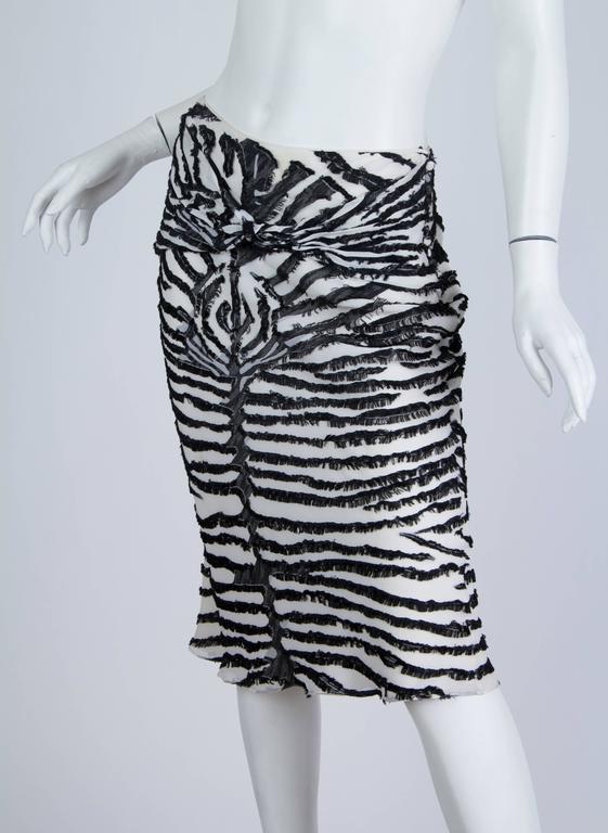 Black 1990s John Galliano Bias cut Silk Zebra skirt For Sale
