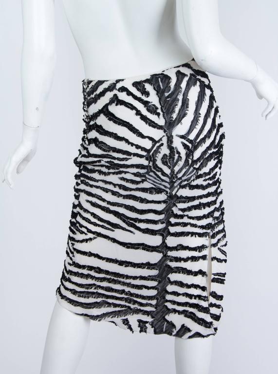 1990s John Galliano Bias cut Silk Zebra skirt For Sale 1