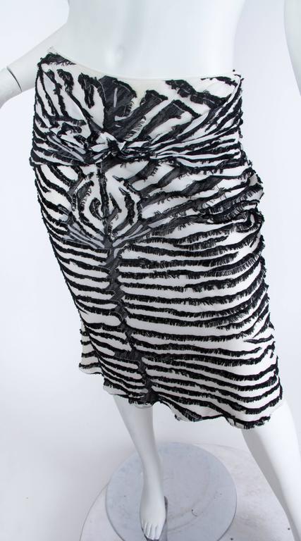 1990s John Galliano Bias cut Silk Zebra skirt For Sale 2