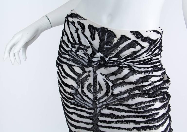 1990s John Galliano Bias cut Silk Zebra skirt For Sale 3