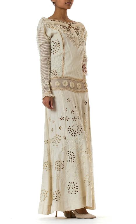 Gray Beautifully Rebuilt Edwardian Hand Embroidered Lace Dress For Sale