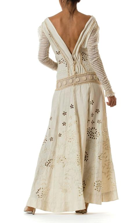 Beautifully Rebuilt Edwardian Hand Embroidered Lace Dress In Excellent Condition For Sale In New York, NY