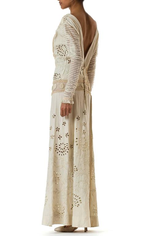 Women's Beautifully Rebuilt Edwardian Hand Embroidered Lace Dress For Sale