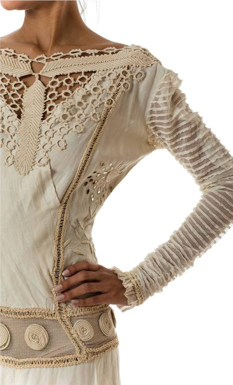 Beautifully Rebuilt Edwardian Hand Embroidered Lace Dress For Sale 2