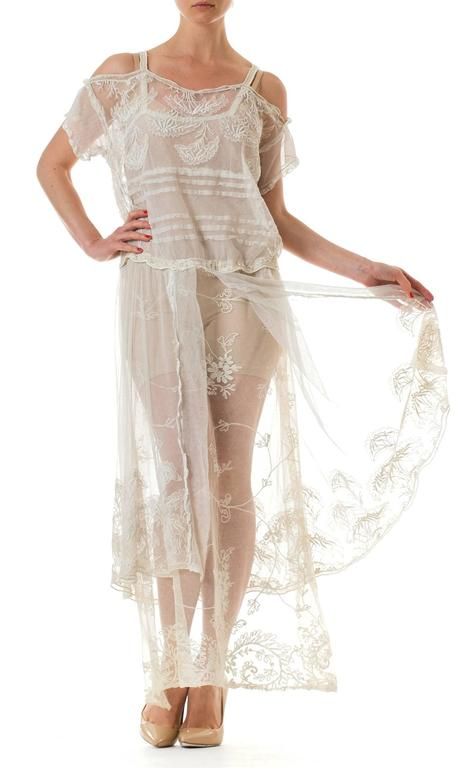 1920s Edwardian Cotton Net And Lace Dress For Sale At 1stdibs