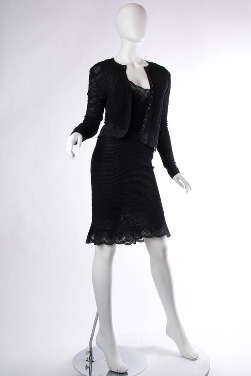 John Galliano Knit and Lace Slip Dress with Sweater 5