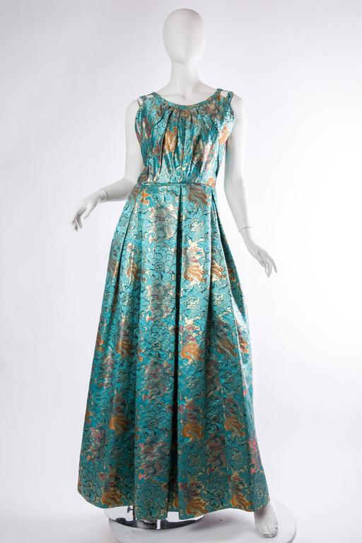 Reversible Gown Made from Chinese Silk. Originally made for the wife of the mayor of Chicago from silk woven with lurex she picked up on her travels.