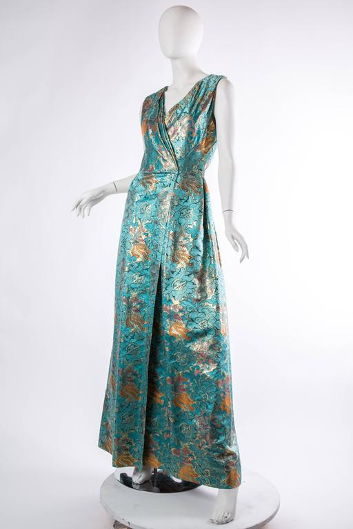 Blue Reversible Gown Made from Chinese Silk For Sale