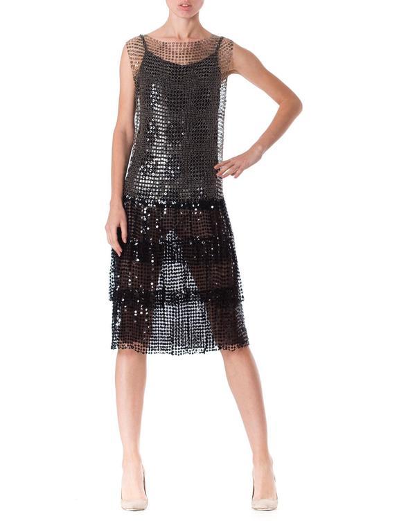 Women's Spectacular 1920s Art Deco Sequin Net Dress For Sale