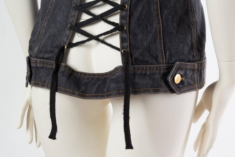 Jean Paul Gaultier Corset Laced Back Denim Jacket Vest 9