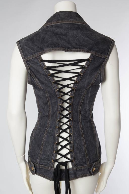 Jean Paul Gaultier Corset Laced Back Denim Jacket Vest For Sale 1