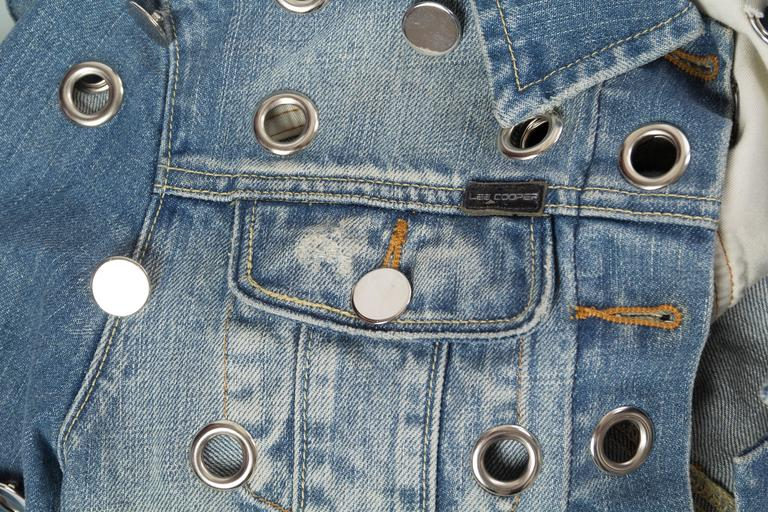 Denim Jacket Covered in Mirrored Buttons and Gromets For Sale 3