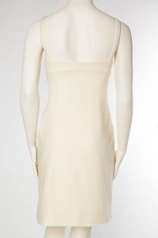 Gianni Versace Versus Stretch Cream Underwire Dress with Slit For Sale 1