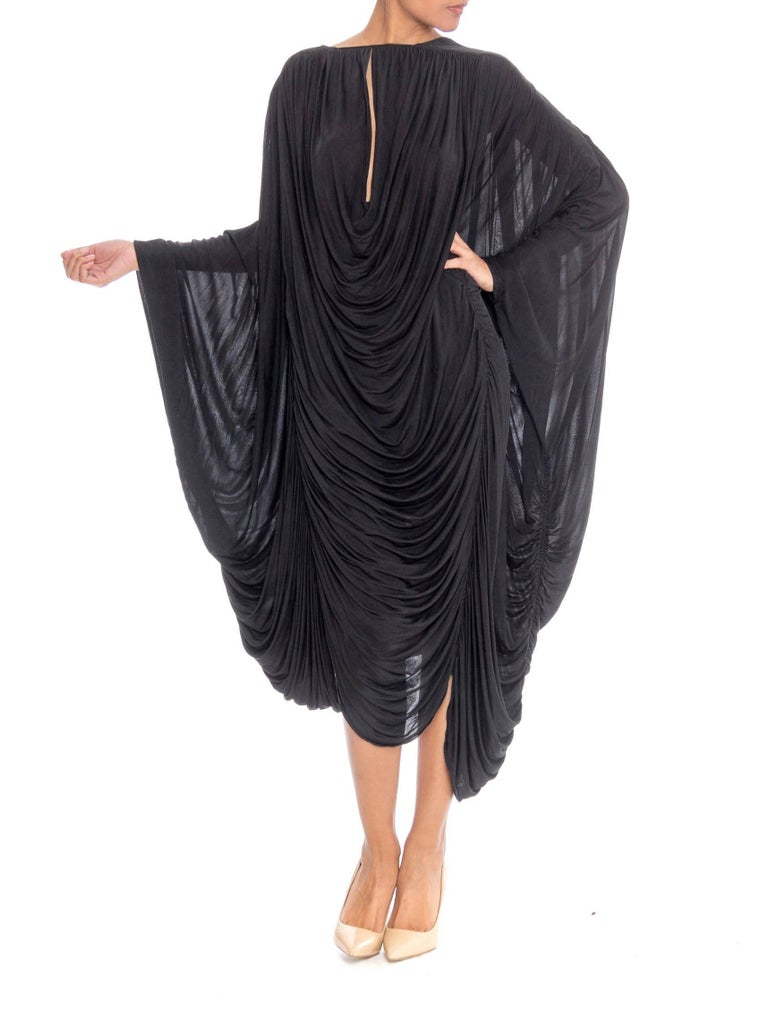 Black Extraordinarily Rare Very Early Issey Miyake Silk Jersey Dress For Sale