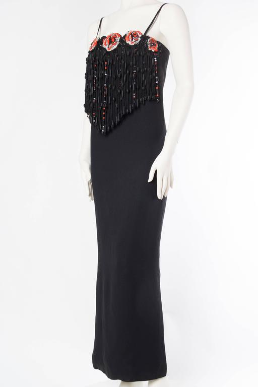 Valentino Crystal Beaded Fringed Gown In Excellent Condition For Sale In New York, NY