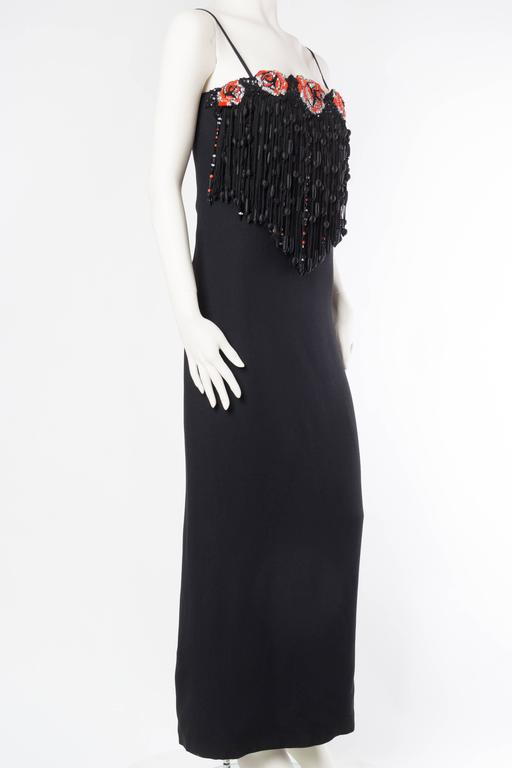 Black Valentino Crystal Beaded Fringed Gown For Sale