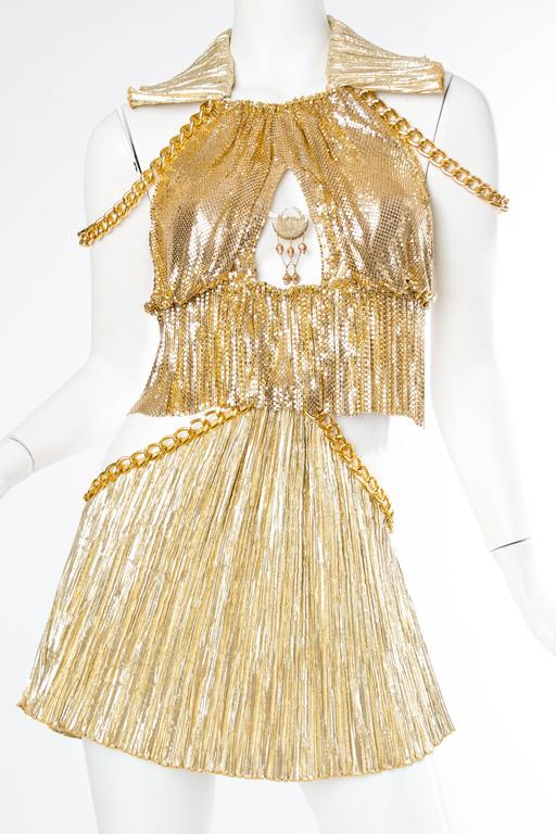 Gold Metal-Mesh and Chain Showgirl Dream Dress For Sale 1