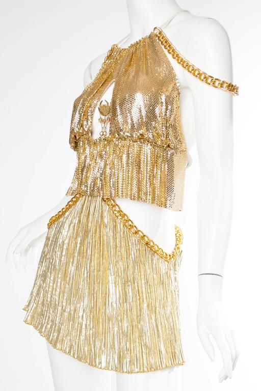 Gold Metal-Mesh and Chain Showgirl Dream Dress For Sale 3