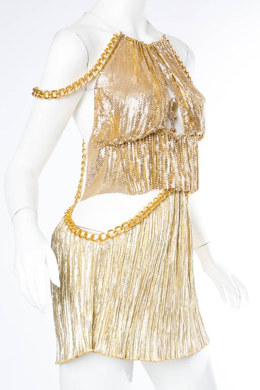 Gold Metal-Mesh and Chain Showgirl Dream Dress For Sale 2