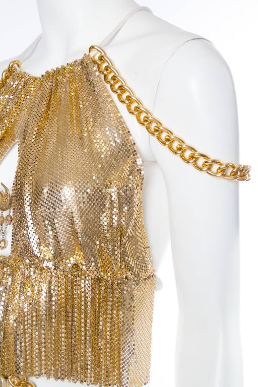 Gold Metal-Mesh and Chain Showgirl Dream Dress For Sale 6