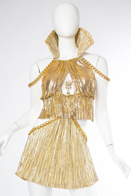 Women's Gold Metal-Mesh and Chain Showgirl Dream Dress For Sale