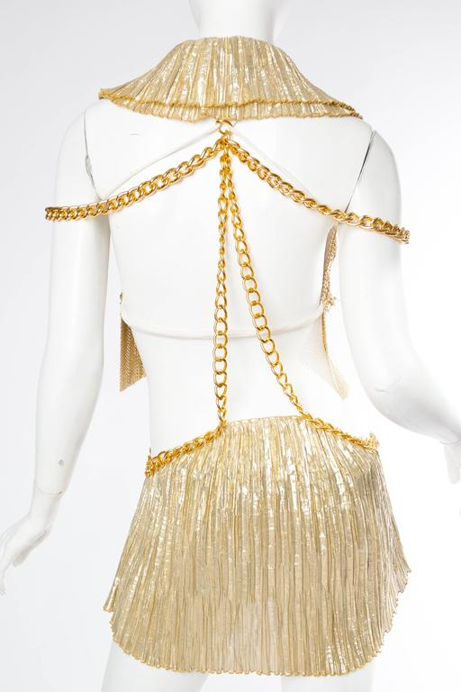 Gold Metal-Mesh and Chain Showgirl Dream Dress For Sale 5