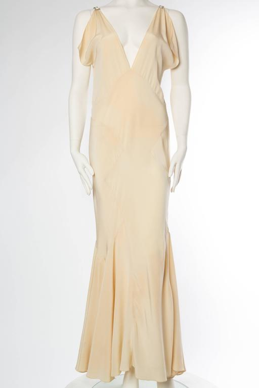 Beige 1930s Bias Silk Art Deco Gown with Crystals For Sale