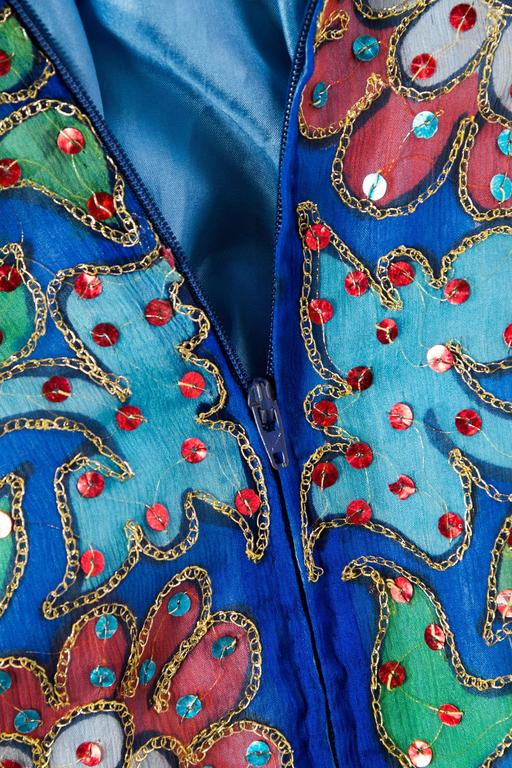 Metal Embroidered Hand Painted Silk Kaftan Dress For Sale 5