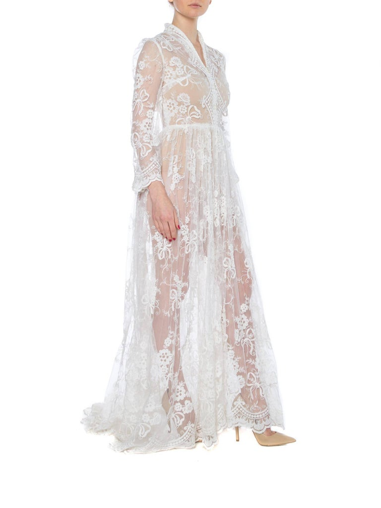 Floral Embroidered Net Lace Dress with Sleeves In Good Condition For Sale In New York, NY