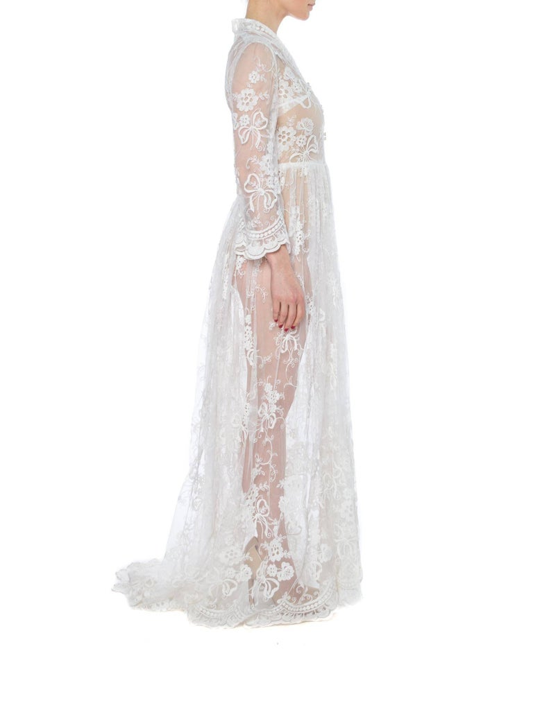 Women's Floral Embroidered Net Lace Dress with Sleeves For Sale