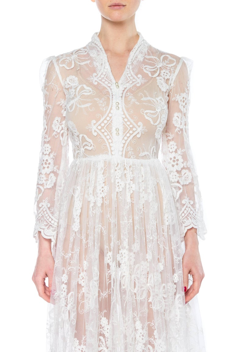 Floral Embroidered Net Lace Dress with Sleeves For Sale 3