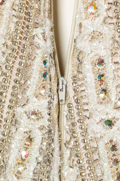1960s Crystal Encrusted Gold Lace Dress For Sale 5