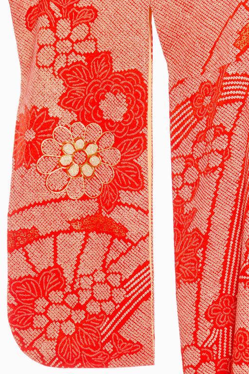 Soft Silk Hand Dyed Shibori Japanese Kimono With Gold