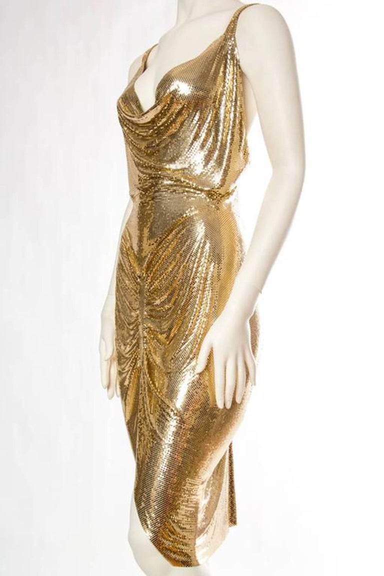 Phenomenal Gold Metal Mesh Dress For Sale at 1stdibs