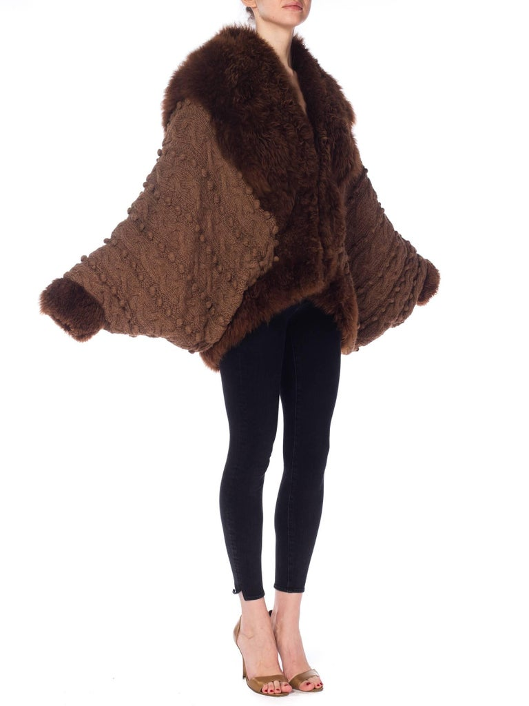 Black Dolman Knit and Fur Coat, 1980s  For Sale