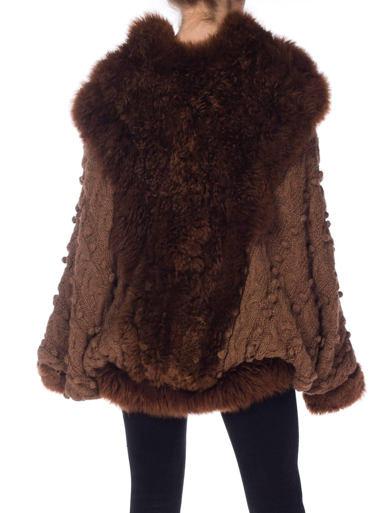 Dolman Knit and Fur Coat, 1980s  For Sale 1
