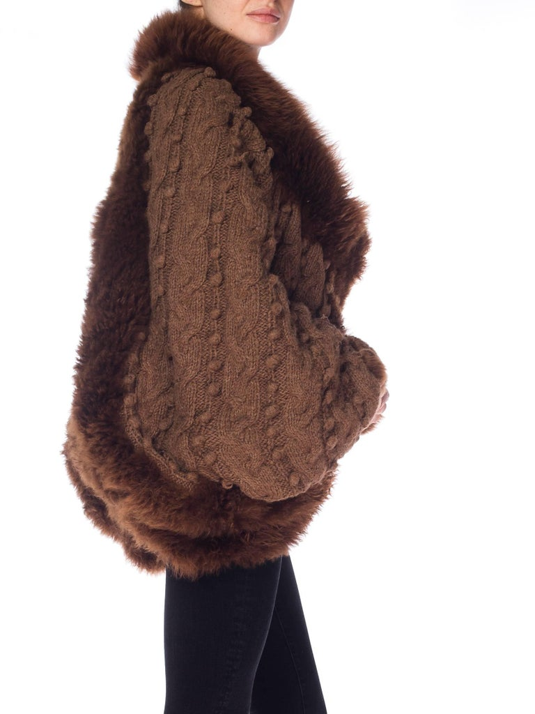 Dolman Knit and Fur Coat, 1980s  For Sale 3