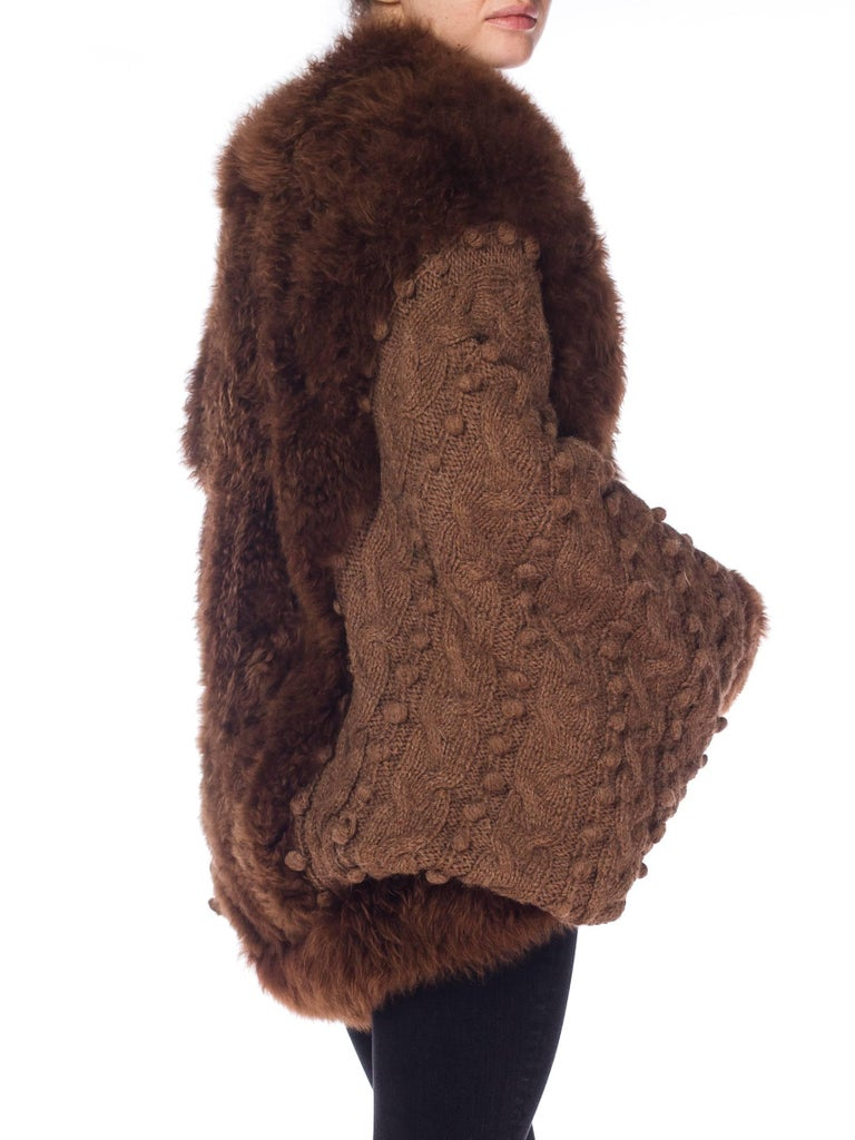 Women's Dolman Knit and Fur Coat, 1980s  For Sale