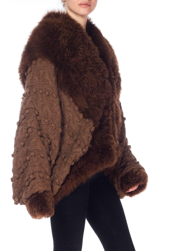 Dolman Knit and Fur Coat, 1980s  In Good Condition For Sale In New York, NY