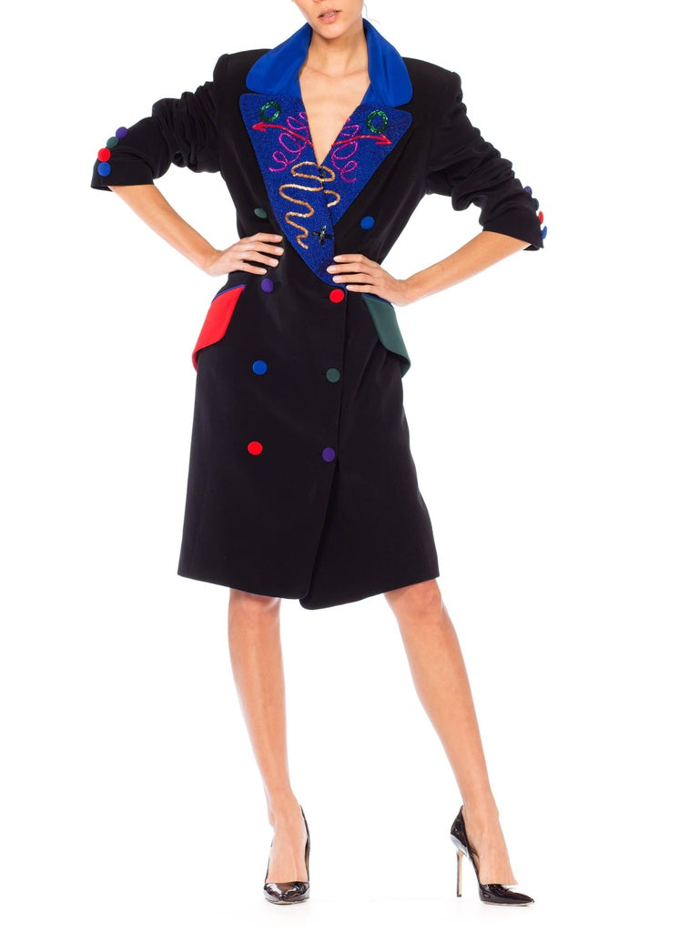 Fabrice Beaded Blazer Working Girl Dress, 1980s  For Sale 4