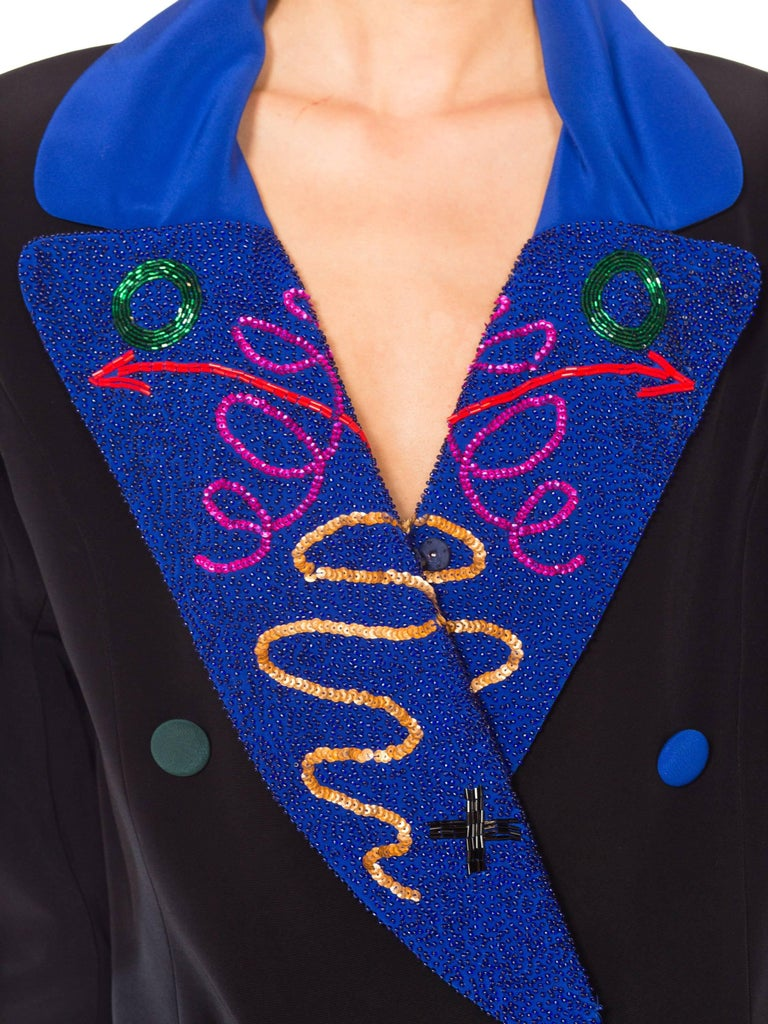 Fabrice Beaded Blazer Working Girl Dress, 1980s  For Sale 5