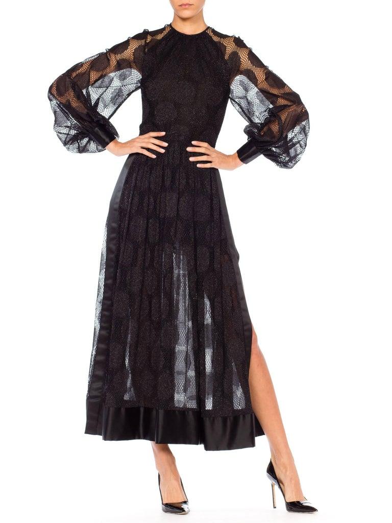 James Galanos Sheer Metallic Mod Lace Dress, 1960s  For Sale 3