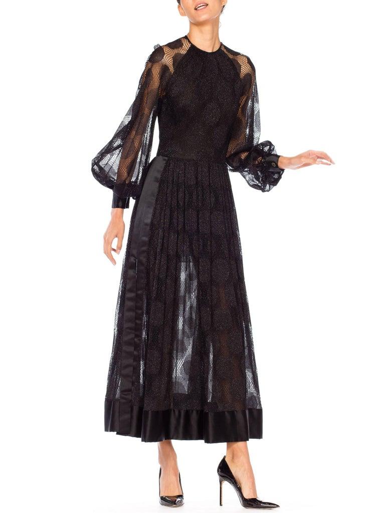 James Galanos Sheer Metallic Mod Lace Dress, 1960s  For Sale 7