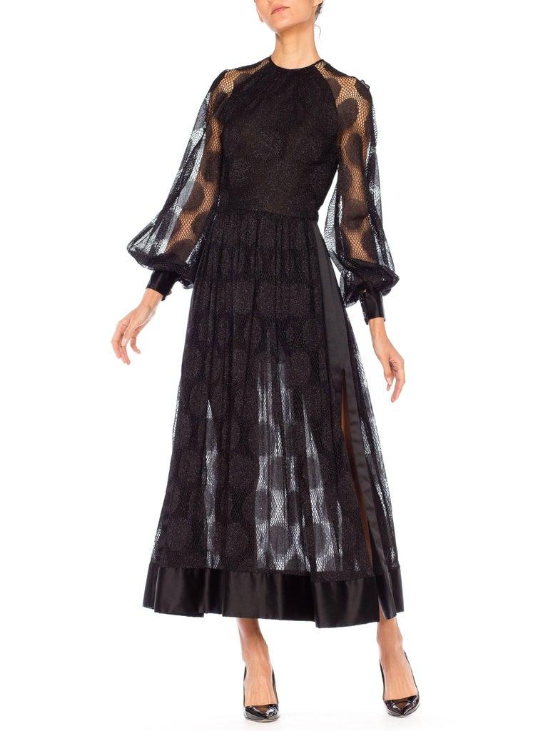 James Galanos Sheer Metallic Mod Lace Dress, 1960s  For Sale 6