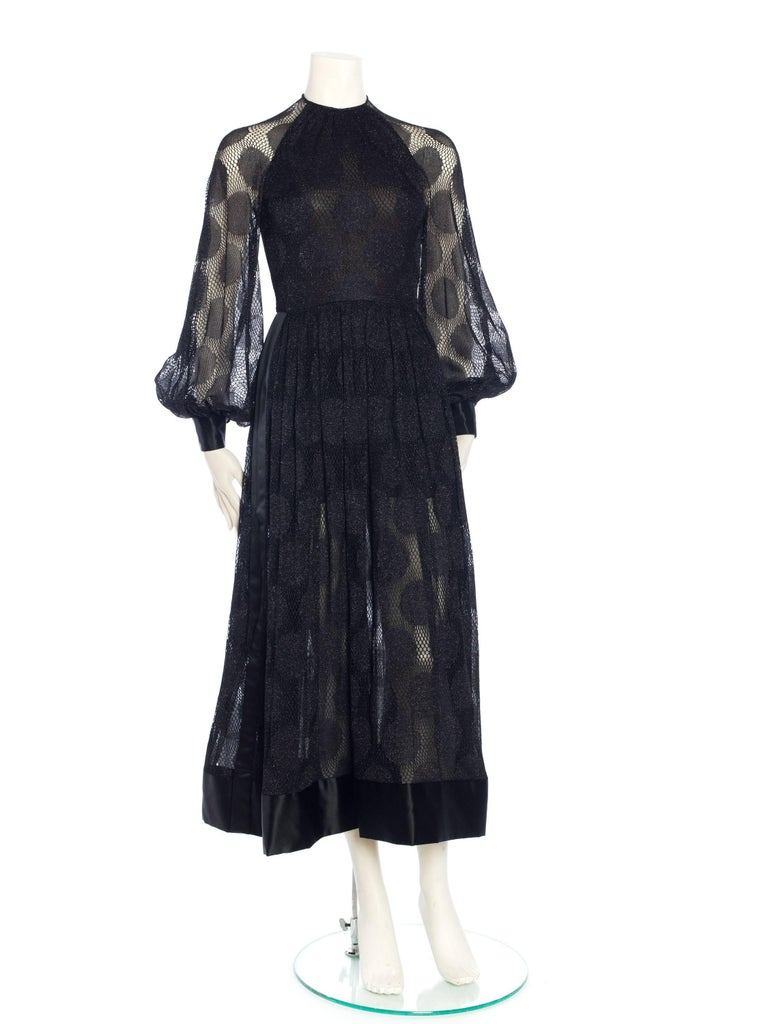 James Galanos Sheer Metallic Mod Lace Dress, 1960s  For Sale 8