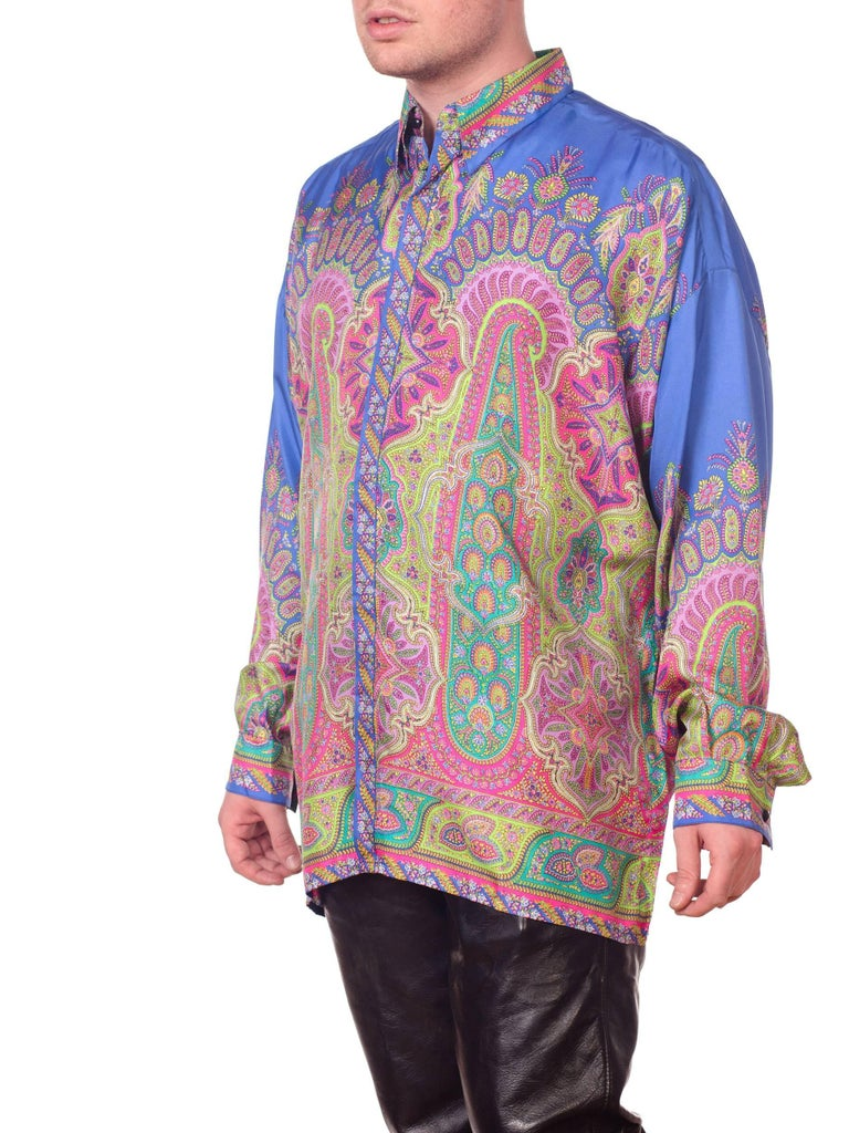 1990s Gianni Versace Men's paisley Printed Shirt For Sale 4