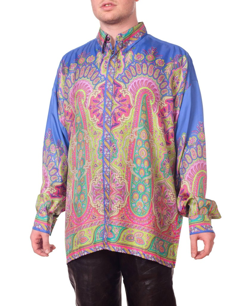 1990s Gianni Versace Men's paisley Printed Shirt For Sale 3